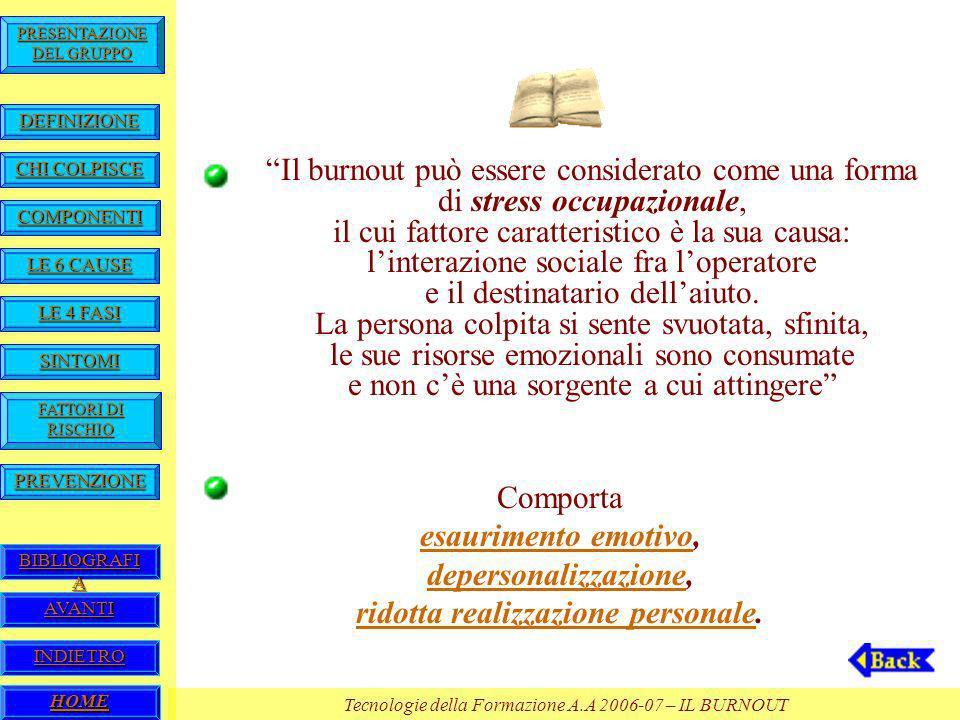 HOME Tecnologie della Formazione A.A 2006-07 – IL BURNOUT BIBLIOGRAFI A BIBLIOGRAFI A PREVENZIONE FATTORI DI RISCHIO FATTORI DI RISCHIO SINTOMI LE 4 FASI LE 4 FASI LE 6 CAUSE LE 6 CAUSE COMPONENTI CHI COLPISCE CHI COLPISCE DEFINIZIONE PRESENTAZIONE DEL GRUPPO PRESENTAZIONE DEL GRUPPO AVANTI INDIETRO Il burnout può essere considerato come una forma di stress occupazionale, il cui fattore caratteristico è la sua causa: linterazione sociale fra loperatore e il destinatario dellaiuto.