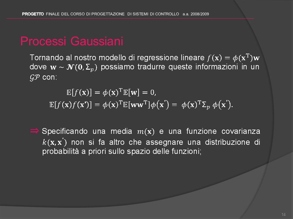 Processi Gaussiani 14