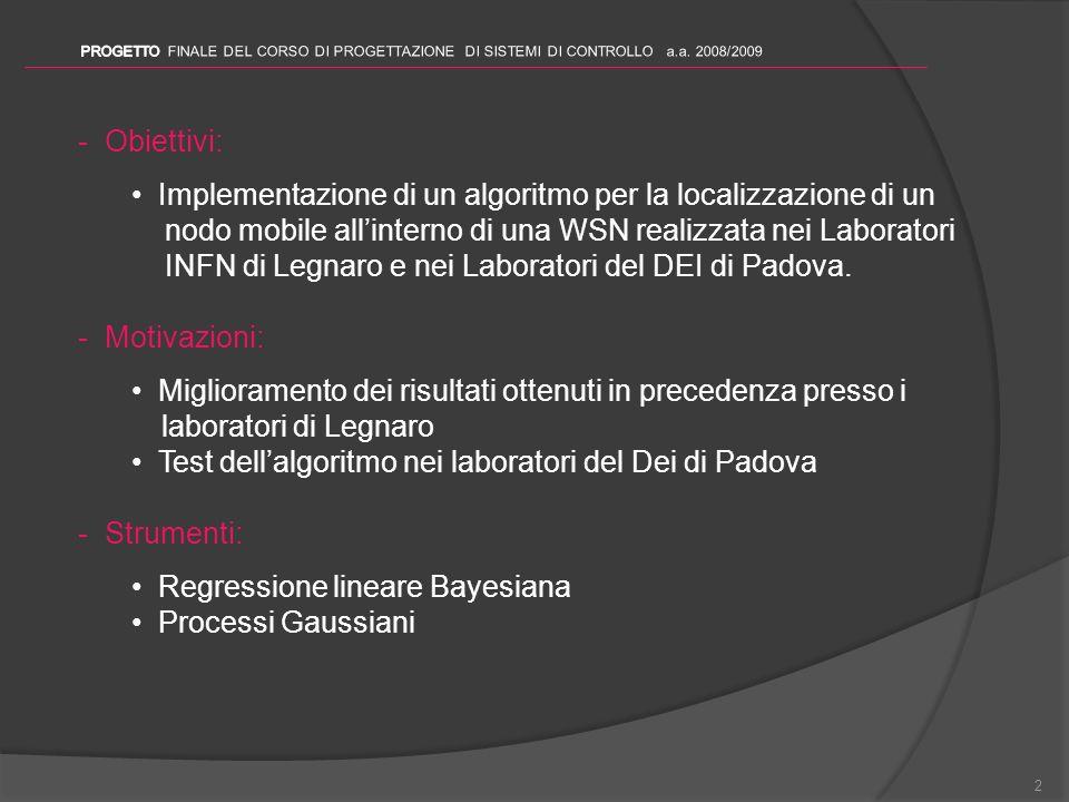 2 - Obiettivi: Implementazione di un algoritmo per la localizzazione di un nodo mobile allinterno di una WSN realizzata nei Laboratori INFN di Legnaro