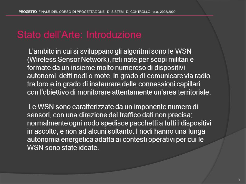 Stato dellArte: Introduzione Lambito in cui si sviluppano gli algoritmi sono le WSN (Wireless Sensor Network), reti nate per scopi militari e formate