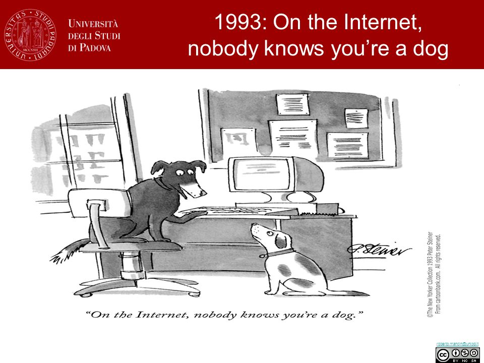 roberto.mancin@unipd.it 1993: On the Internet, nobody knows youre a dog