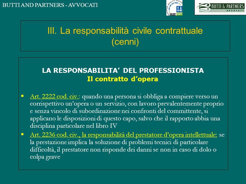 BUTTI AND PARTNERS - AVVOCATI III. La responsabilità civile contrattuale (cenni) LA RESPONSABILITA DEL PROFESSIONISTA Il contratto dopera Art. 2222 co