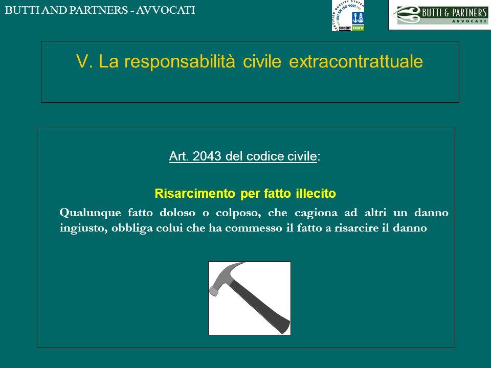 BUTTI AND PARTNERS - AVVOCATI V. La responsabilità civile extracontrattuale Art. 2043 del codice civile: Risarcimento per fatto illecito Qualunque fat