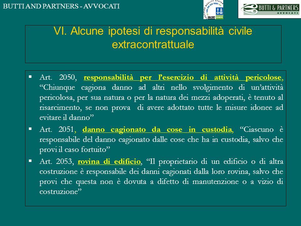 BUTTI AND PARTNERS - AVVOCATI VI. Alcune ipotesi di responsabilità civile extracontrattuale Art. 2050, responsabilità per lesercizio di attività peric