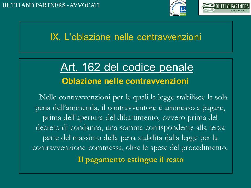 BUTTI AND PARTNERS - AVVOCATI IX. Loblazione nelle contravvenzioni Art. 162 del codice penale Oblazione nelle contravvenzioni Nelle contravvenzioni pe
