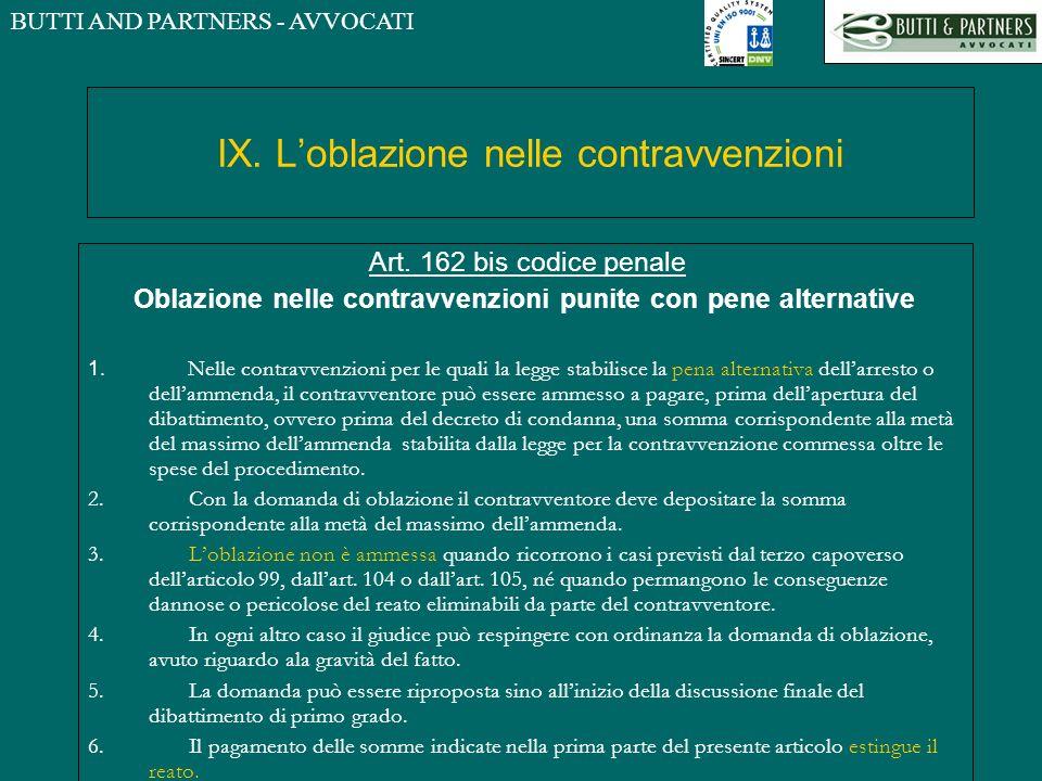 BUTTI AND PARTNERS - AVVOCATI IX. Loblazione nelle contravvenzioni Art. 162 bis codice penale Oblazione nelle contravvenzioni punite con pene alternat