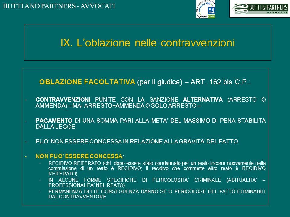 BUTTI AND PARTNERS - AVVOCATI IX. Loblazione nelle contravvenzioni OBLAZIONE FACOLTATIVA (per il giudice) – ART. 162 bis C.P.: -CONTRAVVENZIONI PUNITE