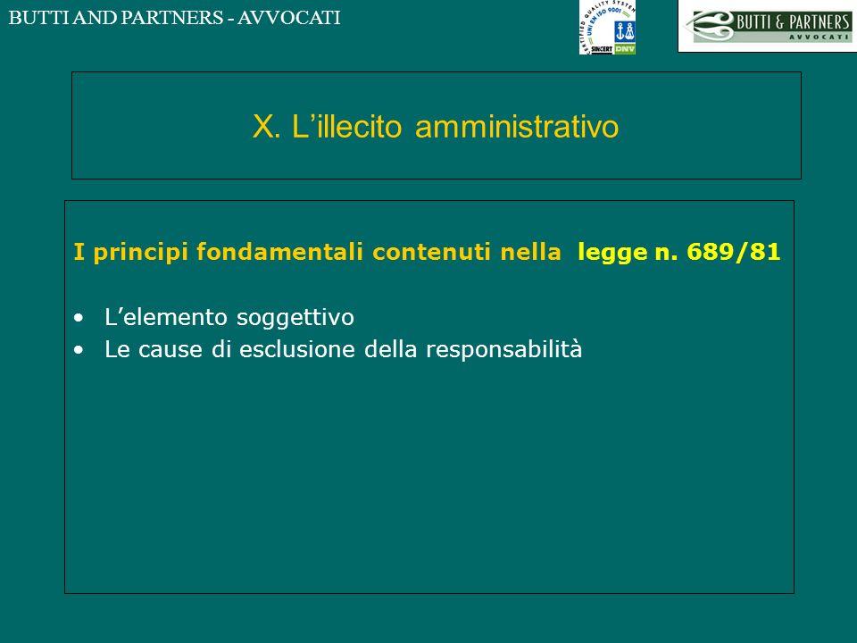 BUTTI AND PARTNERS - AVVOCATI X. Lillecito amministrativo I principi fondamentali contenuti nella legge n. 689/81 Lelemento soggettivo Le cause di esc