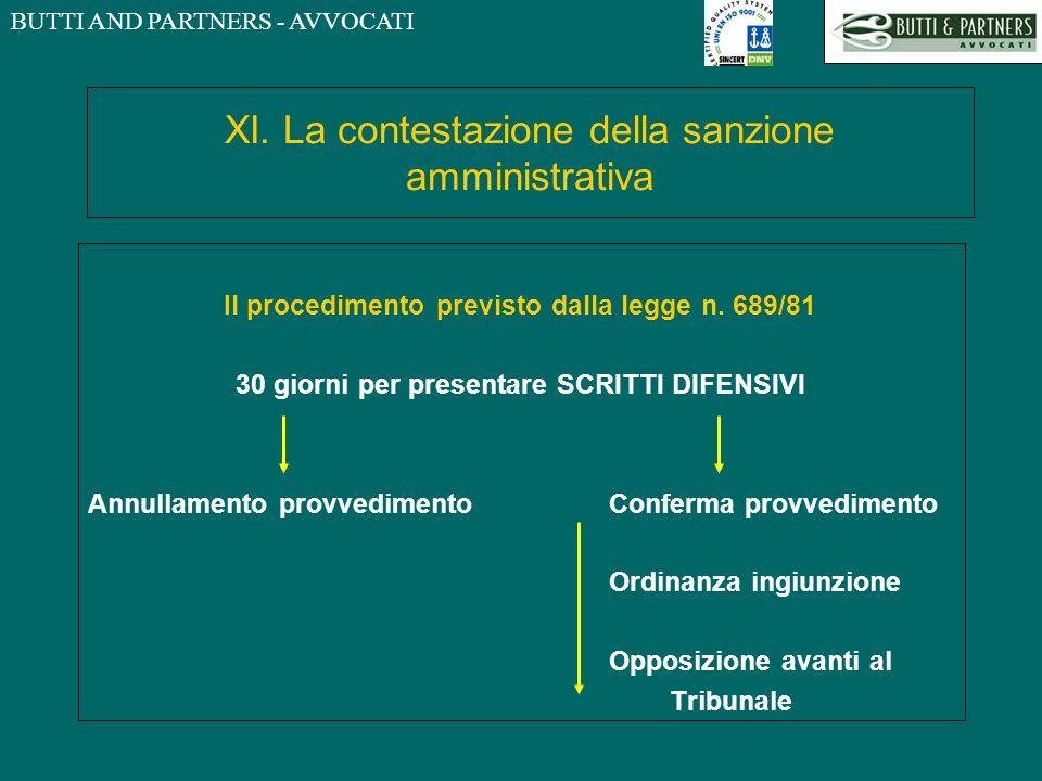 BUTTI AND PARTNERS - AVVOCATI XI. La contestazione della sanzione amministrativa Il procedimento previsto dalla legge n. 689/81 30 giorni per presenta