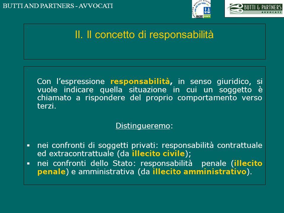 BUTTI AND PARTNERS - AVVOCATI II. Il concetto di responsabilità Con lespressione responsabilità, in senso giuridico, si vuole indicare quella situazio