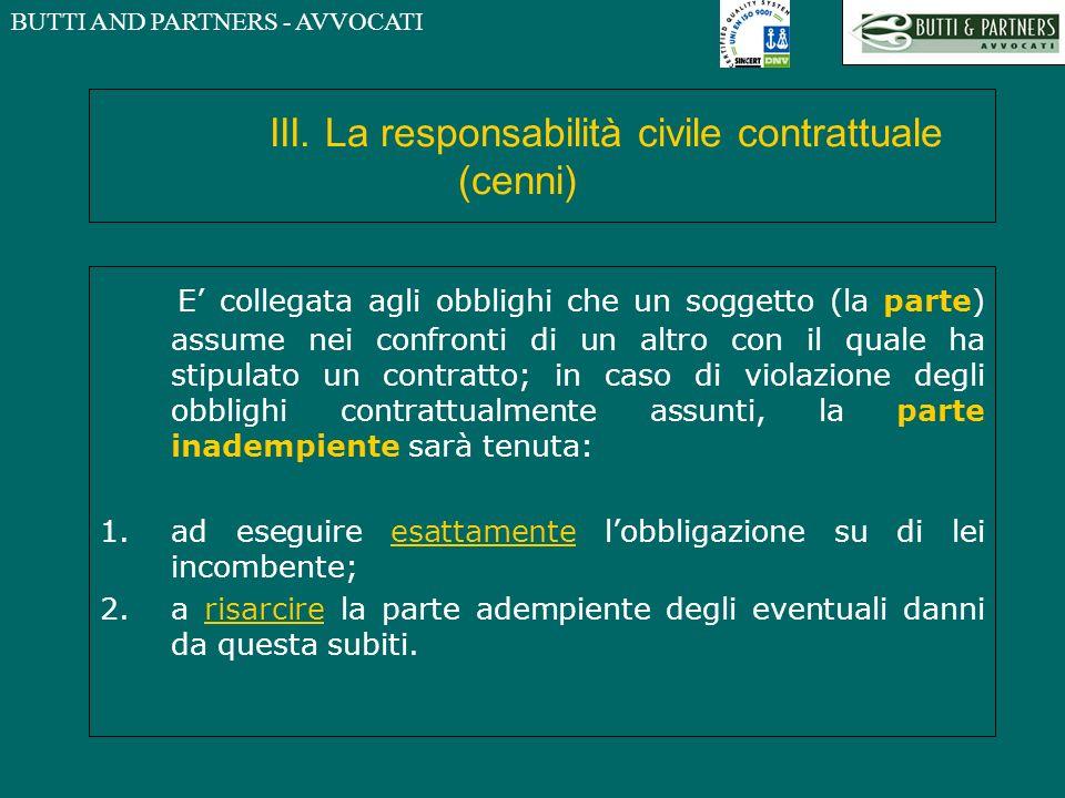 BUTTI AND PARTNERS - AVVOCATI III. La responsabilità civile contrattuale (cenni) E collegata agli obblighi che un soggetto (la parte) assume nei confr