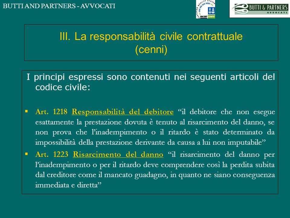 BUTTI AND PARTNERS - AVVOCATI III. La responsabilità civile contrattuale (cenni) I principi espressi sono contenuti nei seguenti articoli del codice c