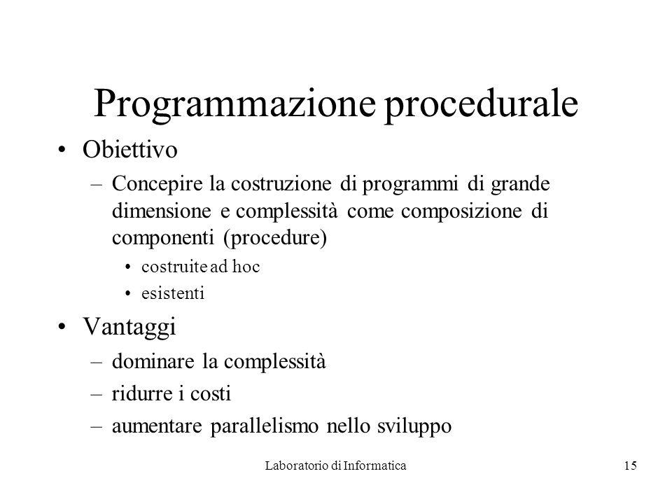 Laboratorio di Informatica15 Programmazione procedurale Obiettivo –Concepire la costruzione di programmi di grande dimensione e complessità come composizione di componenti (procedure) costruite ad hoc esistenti Vantaggi –dominare la complessità –ridurre i costi –aumentare parallelismo nello sviluppo