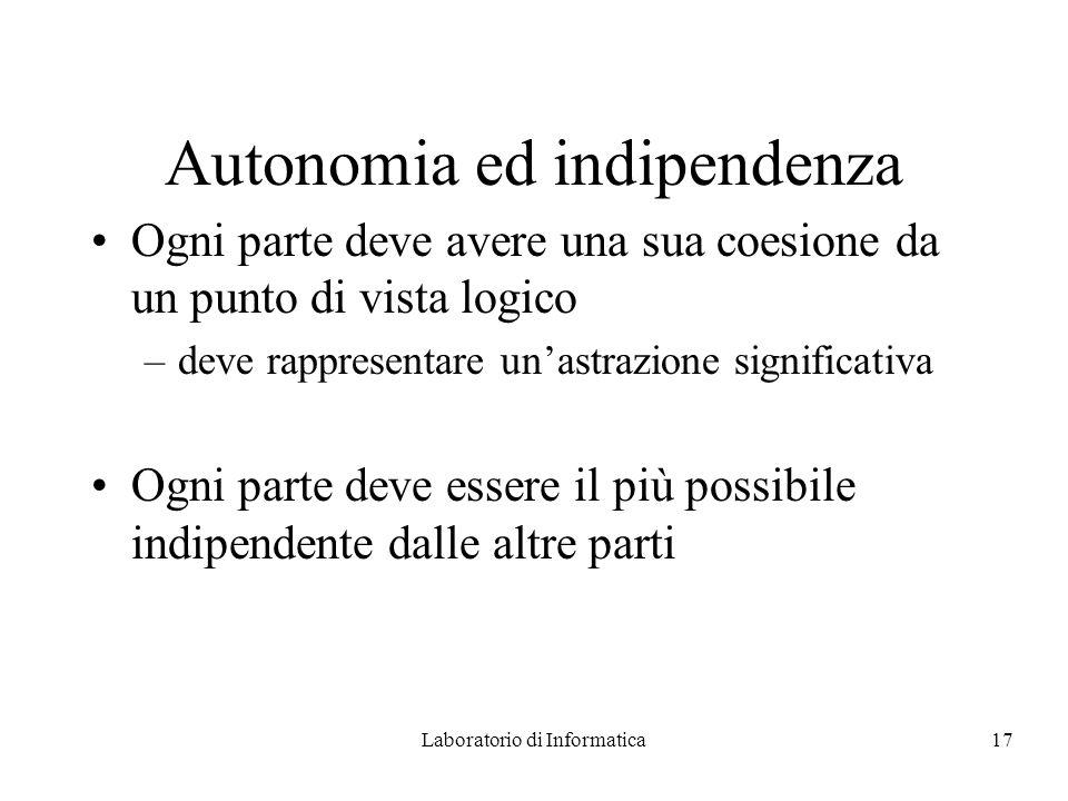 Laboratorio di Informatica17 Autonomia ed indipendenza Ogni parte deve avere una sua coesione da un punto di vista logico –deve rappresentare unastrazione significativa Ogni parte deve essere il più possibile indipendente dalle altre parti