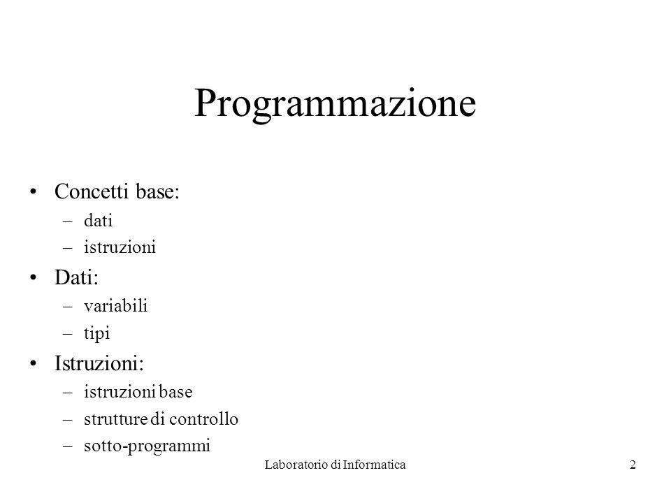 Laboratorio di Informatica2 Programmazione Concetti base: –dati –istruzioni Dati: –variabili –tipi Istruzioni: –istruzioni base –strutture di controllo –sotto-programmi