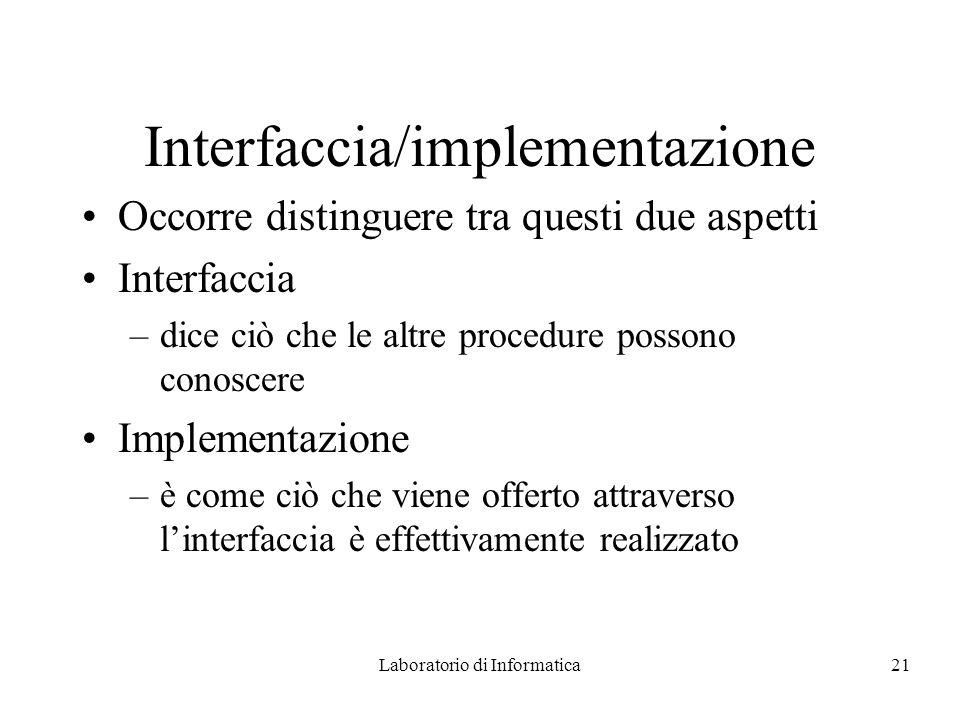 Laboratorio di Informatica21 Interfaccia/implementazione Occorre distinguere tra questi due aspetti Interfaccia –dice ciò che le altre procedure possono conoscere Implementazione –è come ciò che viene offerto attraverso linterfaccia è effettivamente realizzato