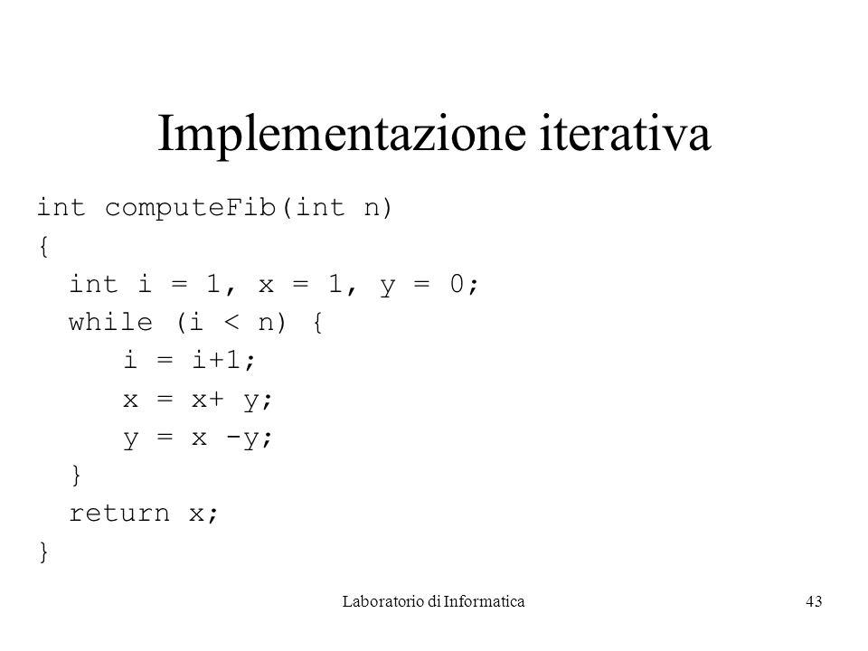 Laboratorio di Informatica43 Implementazione iterativa int computeFib(int n) { int i = 1, x = 1, y = 0; while (i < n) { i = i+1; x = x+ y; y = x -y; } return x; }