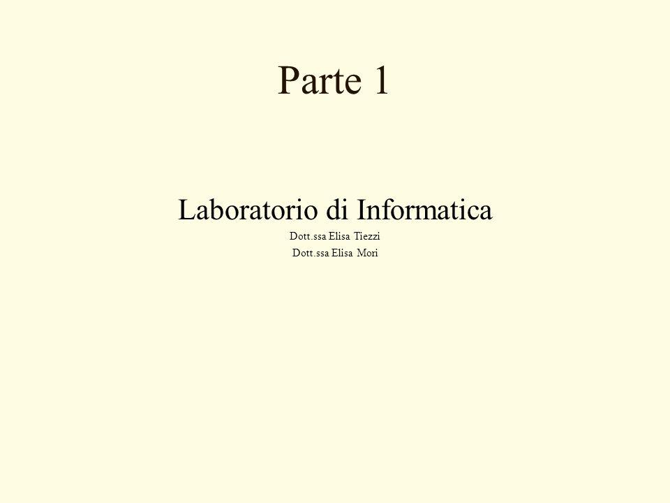 Parte 1 Laboratorio di Informatica Dott.ssa Elisa Tiezzi Dott.ssa Elisa Mori