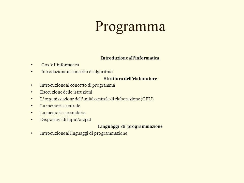 Programma Introduzione allinformatica Cosè linformatica Introduzione al concetto di algoritmo Struttura dellelaboratore Introduzione al concetto di pr