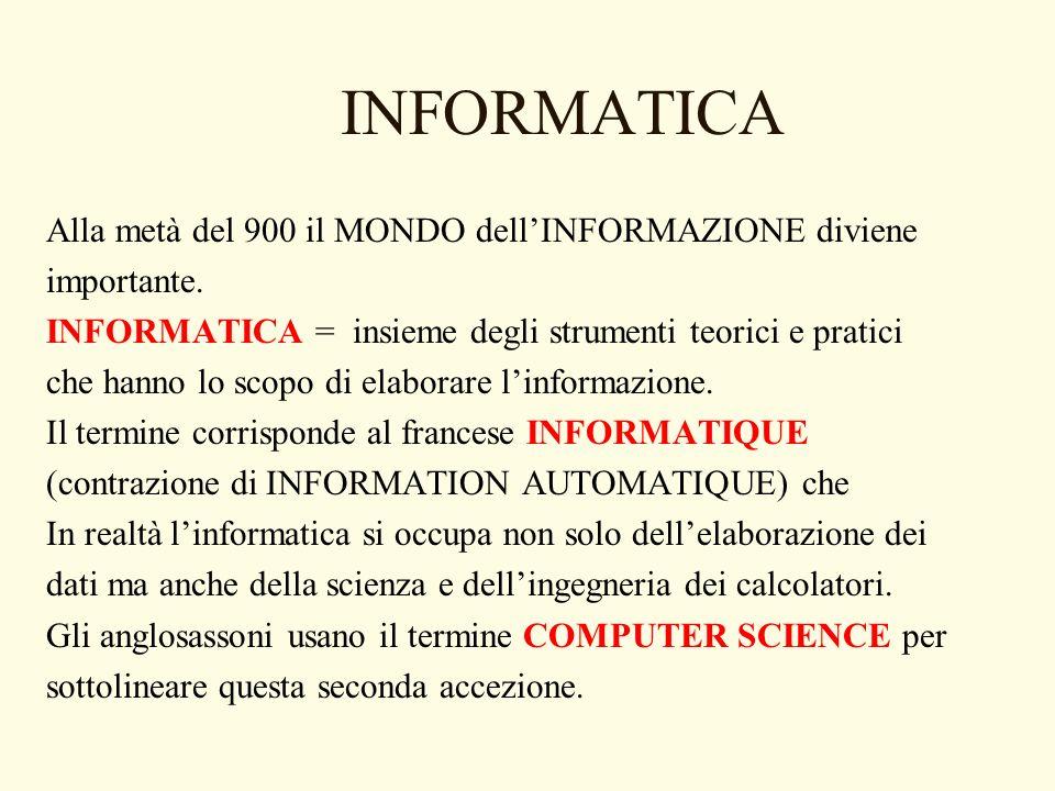 INFORMATICA Alla metà del 900 il MONDO dellINFORMAZIONE diviene importante. INFORMATICA = insieme degli strumenti teorici e pratici che hanno lo scopo