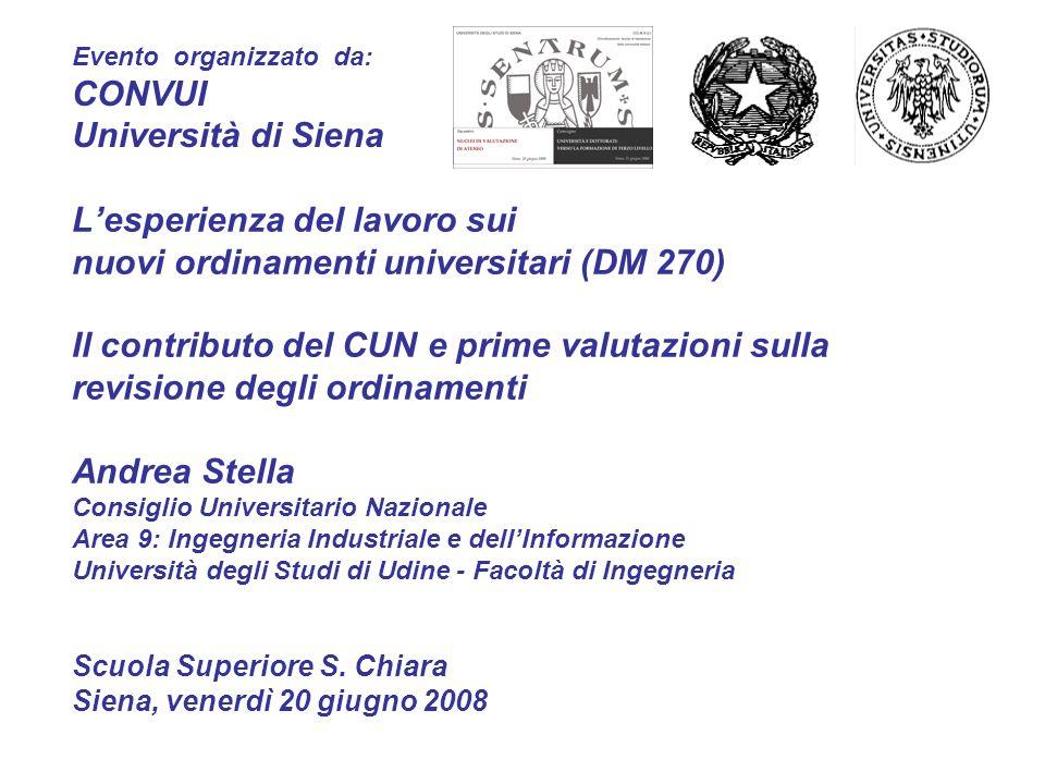 Lesperienza del lavoro sui nuovi ordinamenti universitari (DM 270) Il contributo del CUN e prime valutazioni sulla revisione degli ordinamenti Andrea
