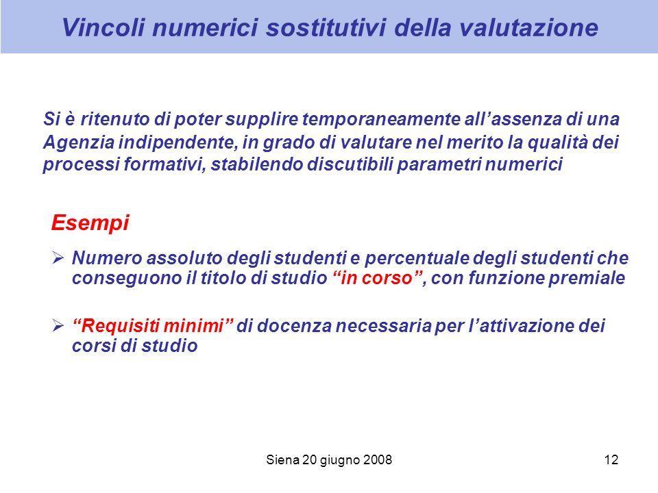 Siena 20 giugno 200812 Vincoli numerici sostitutivi della valutazione Si è ritenuto di poter supplire temporaneamente allassenza di una Agenzia indipe