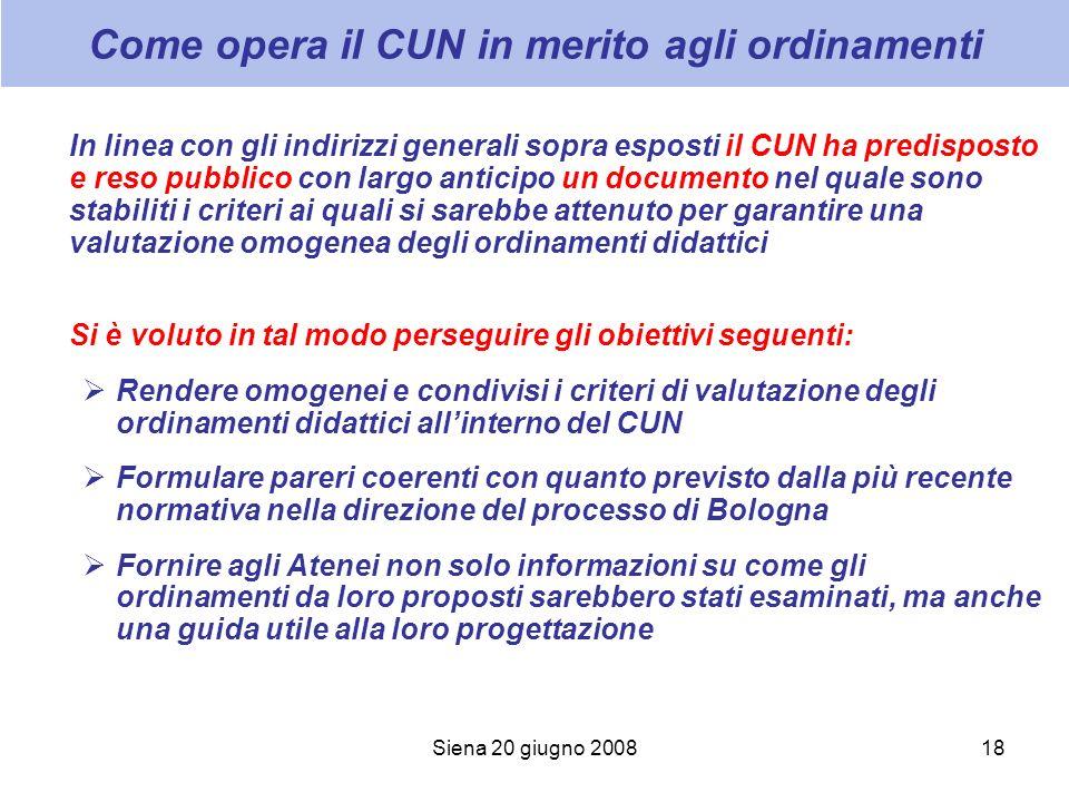 Siena 20 giugno 200818 Come opera il CUN in merito agli ordinamenti In linea con gli indirizzi generali sopra esposti il CUN ha predisposto e reso pub