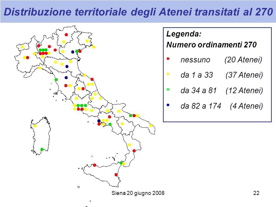Siena 20 giugno 200822 Distribuzione territoriale degli Atenei transitati al 270 Legenda: Numero ordinamenti 270 nessuno (20 Atenei) da 1 a 33 (37 Ate