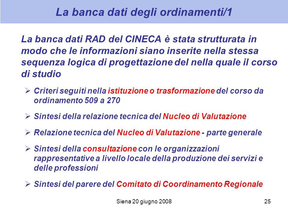 Siena 20 giugno 200825 La banca dati degli ordinamenti/1 La banca dati RAD del CINECA è stata strutturata in modo che le informazioni siano inserite n