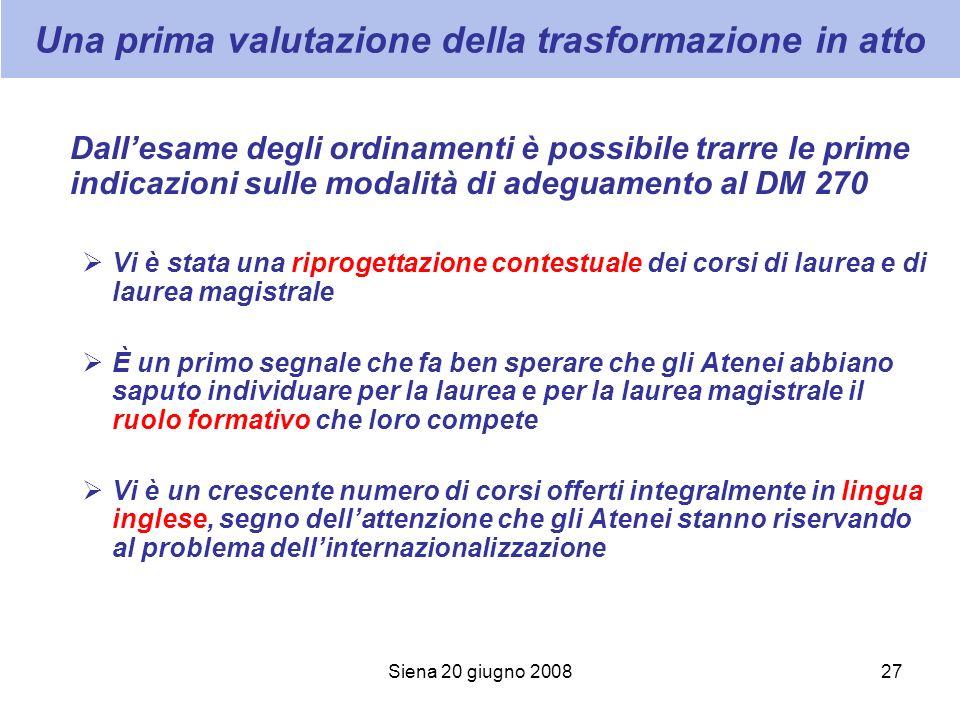 Siena 20 giugno 200827 Una prima valutazione della trasformazione in atto Dallesame degli ordinamenti è possibile trarre le prime indicazioni sulle mo