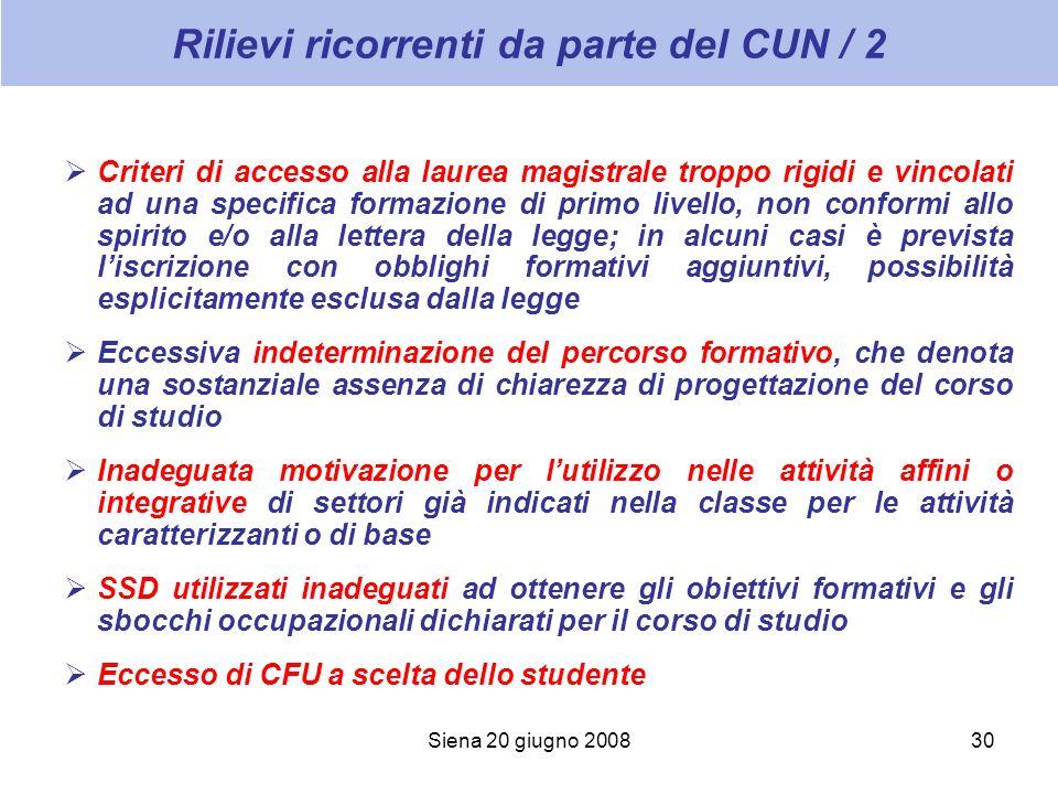 Siena 20 giugno 200830 Rilievi ricorrenti da parte del CUN / 2 Criteri di accesso alla laurea magistrale troppo rigidi e vincolati ad una specifica fo