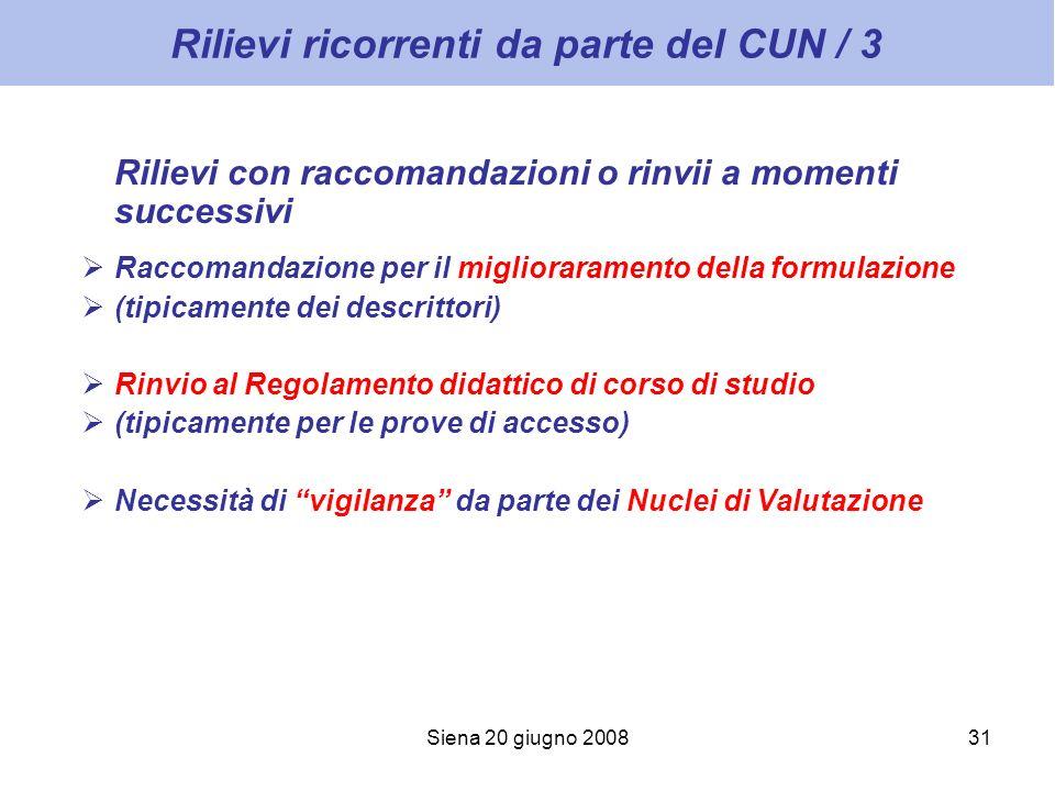 Siena 20 giugno 200831 Rilievi ricorrenti da parte del CUN / 3 Rilievi con raccomandazioni o rinvii a momenti successivi Raccomandazione per il miglio