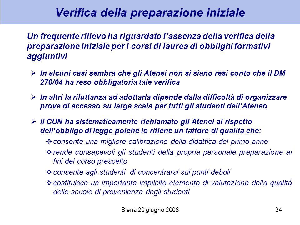 Siena 20 giugno 200834 Verifica della preparazione iniziale Un frequente rilievo ha riguardato lassenza della verifica della preparazione iniziale per
