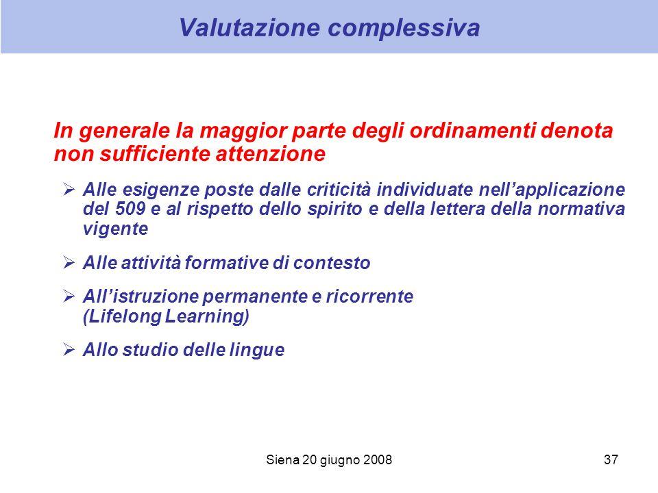 Siena 20 giugno 200837 Valutazione complessiva In generale la maggior parte degli ordinamenti denota non sufficiente attenzione Alle esigenze poste da