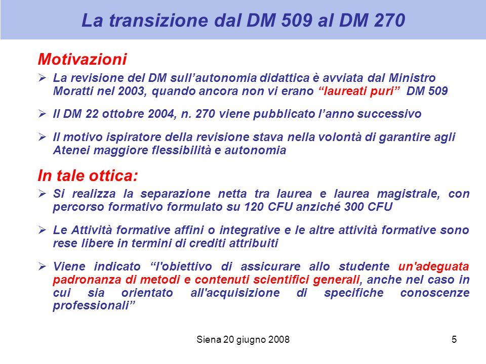 Siena 20 giugno 20085 La transizione dal DM 509 al DM 270 Motivazioni La revisione del DM sullautonomia didattica è avviata dal Ministro Moratti nel 2003, quando ancora non vi erano laureati puri DM 509 Il DM 22 ottobre 2004, n.