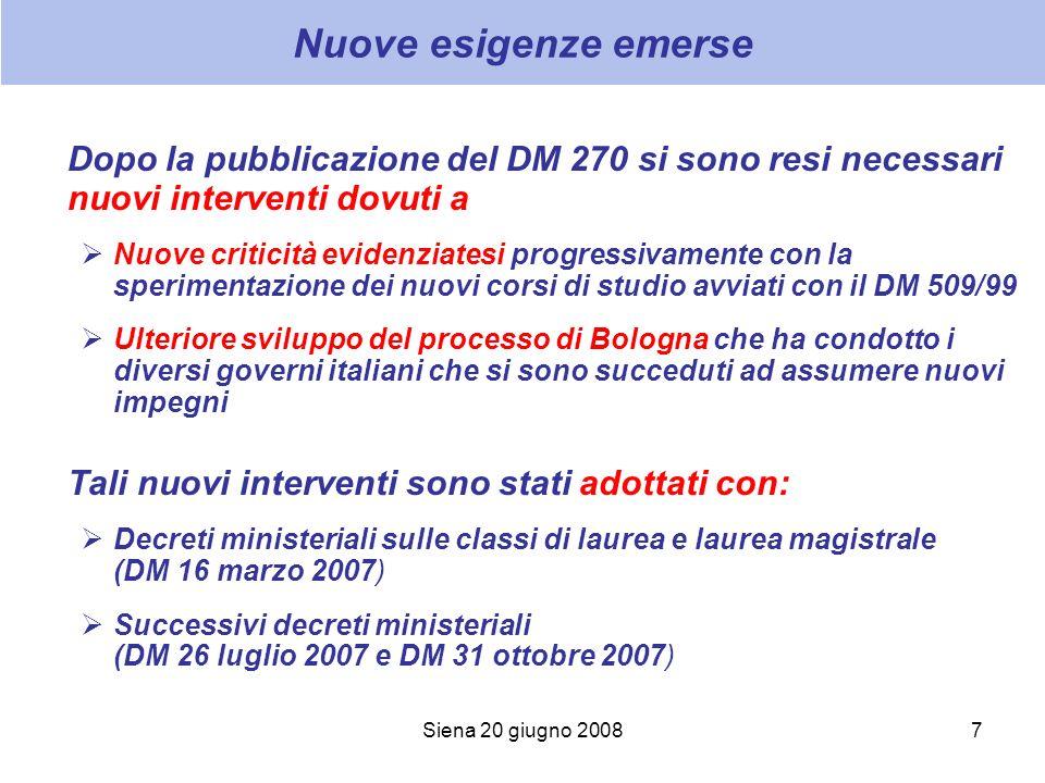 Siena 20 giugno 20087 Nuove esigenze emerse Dopo la pubblicazione del DM 270 si sono resi necessari nuovi interventi dovuti a Nuove criticità evidenzi