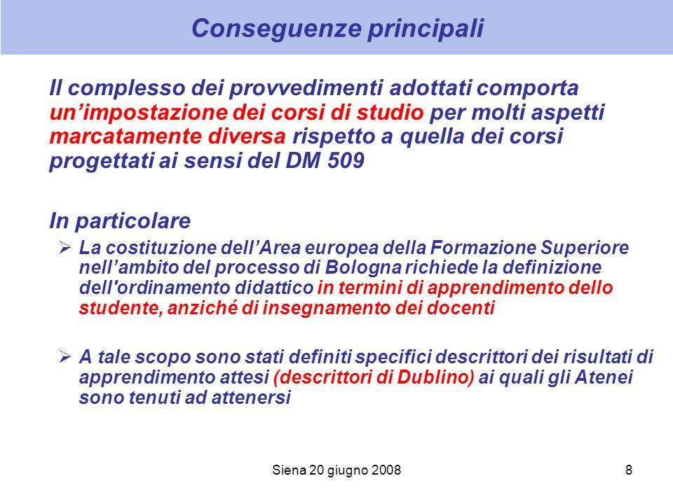 Siena 20 giugno 20088 Conseguenze principali Il complesso dei provvedimenti adottati comporta unimpostazione dei corsi di studio per molti aspetti mar