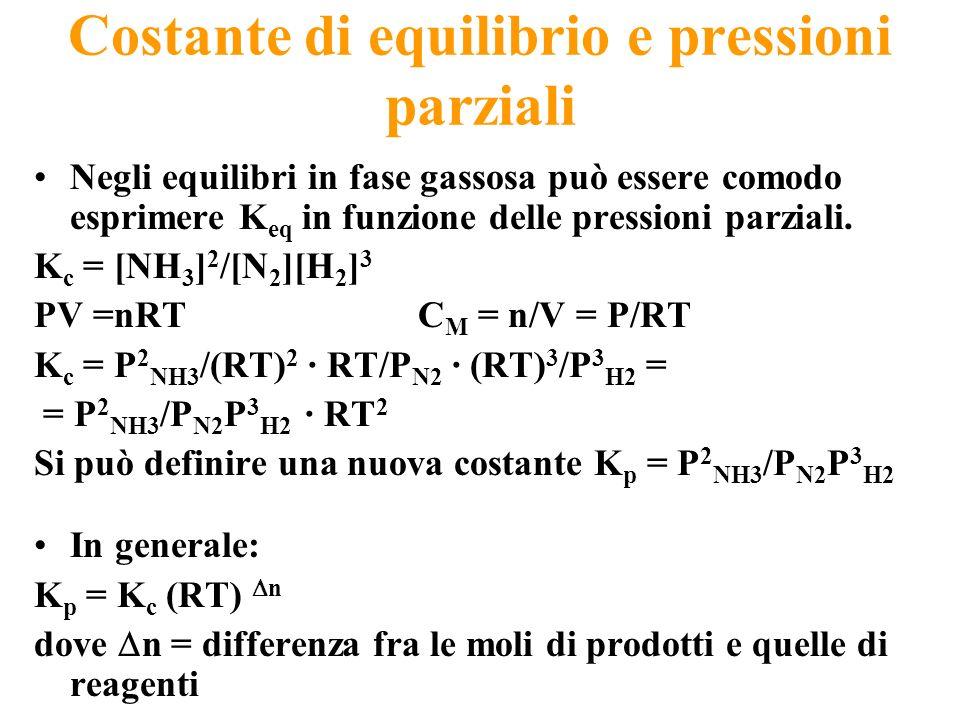 Costante di equilibrio e pressioni parziali Negli equilibri in fase gassosa può essere comodo esprimere K eq in funzione delle pressioni parziali. K c