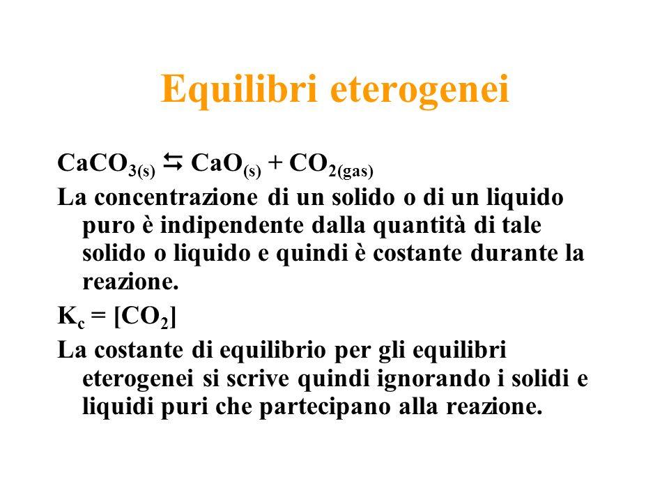 Equilibri eterogenei CaCO 3(s) CaO (s) + CO 2(gas) La concentrazione di un solido o di un liquido puro è indipendente dalla quantità di tale solido o