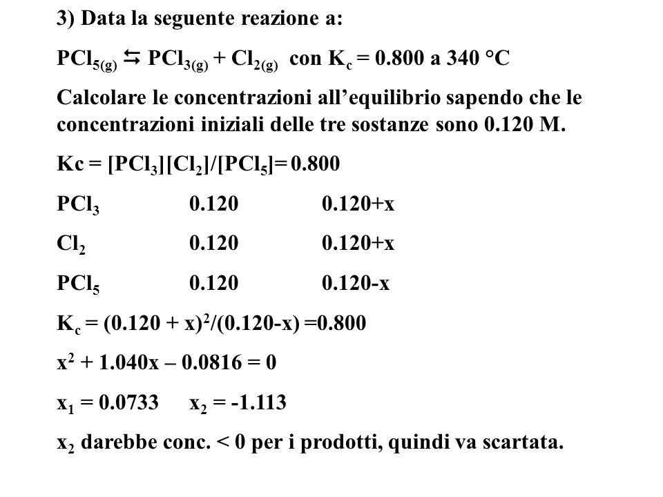 3) Data la seguente reazione a: PCl 5(g) PCl 3(g) + Cl 2(g) con K c = 0.800 a 340 °C Calcolare le concentrazioni allequilibrio sapendo che le concentr