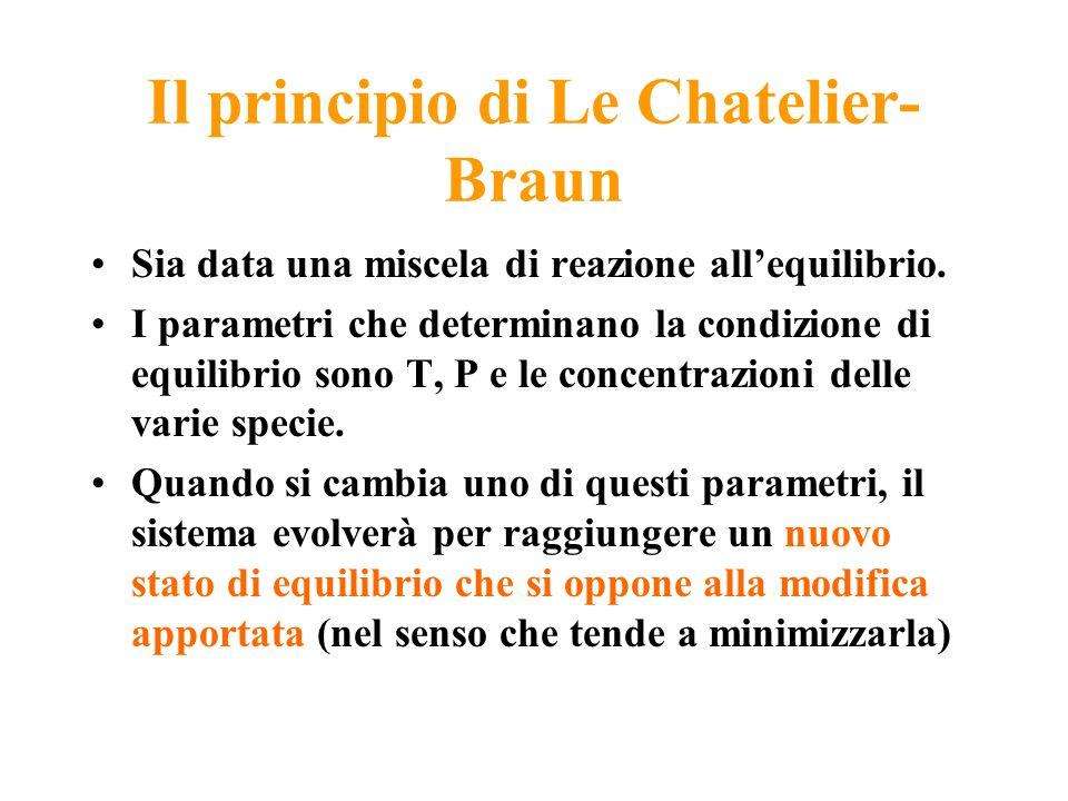 Il principio di Le Chatelier- Braun Sia data una miscela di reazione allequilibrio. I parametri che determinano la condizione di equilibrio sono T, P
