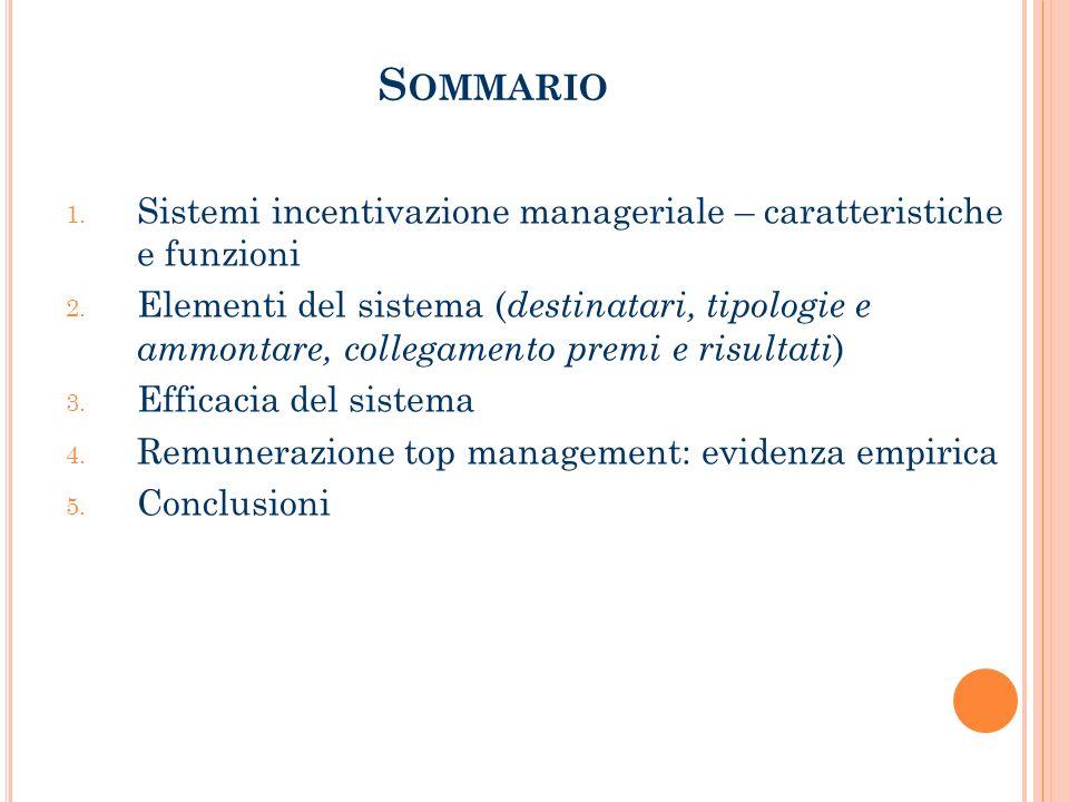 S OMMARIO 1.Sistemi incentivazione manageriale – caratteristiche e funzioni 2.