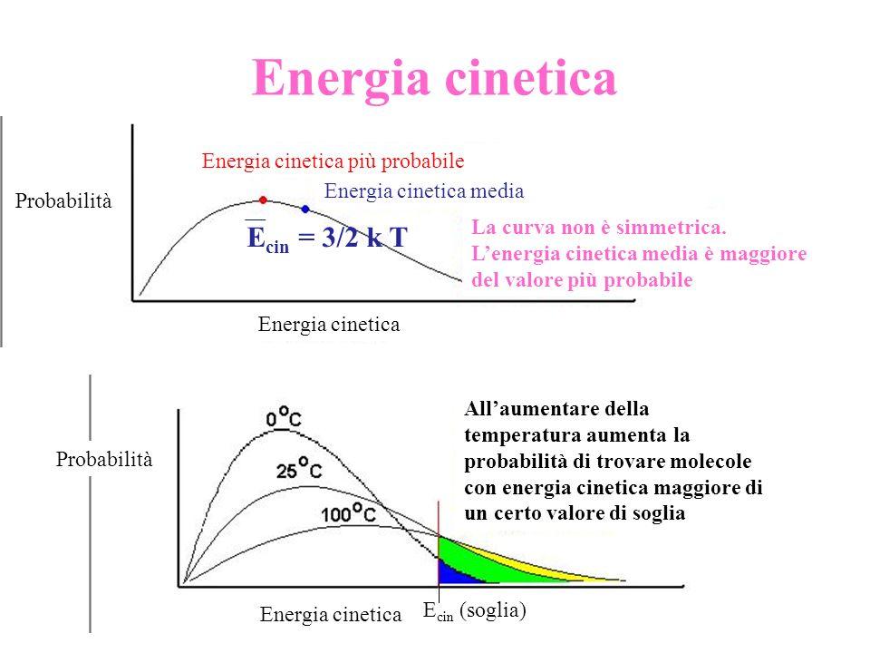 Energia cinetica E cin = 3/2 k T Probabilità Energia cinetica Energia cinetica più probabile Energia cinetica media La curva non è simmetrica. Lenergi