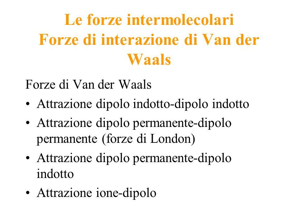 Le forze intermolecolari Forze di interazione di Van der Waals Forze di Van der Waals Attrazione dipolo indotto-dipolo indotto Attrazione dipolo perma