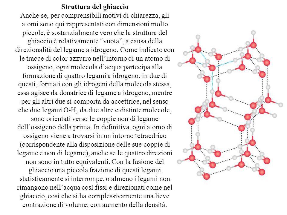 Struttura del ghiaccio Anche se, per comprensibili motivi di chiarezza, gli atomi sono qui rappresentati con dimensioni molto piccole, è sostanzialmen