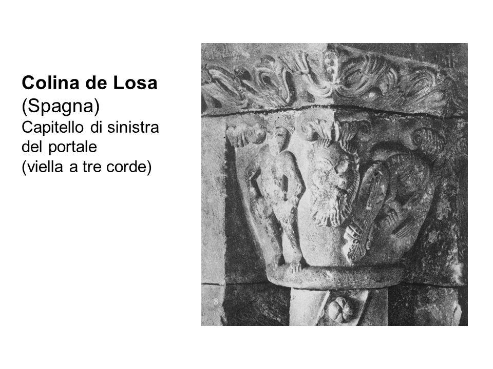 Colina de Losa (Spagna) Capitello di sinistra del portale (viella a tre corde)