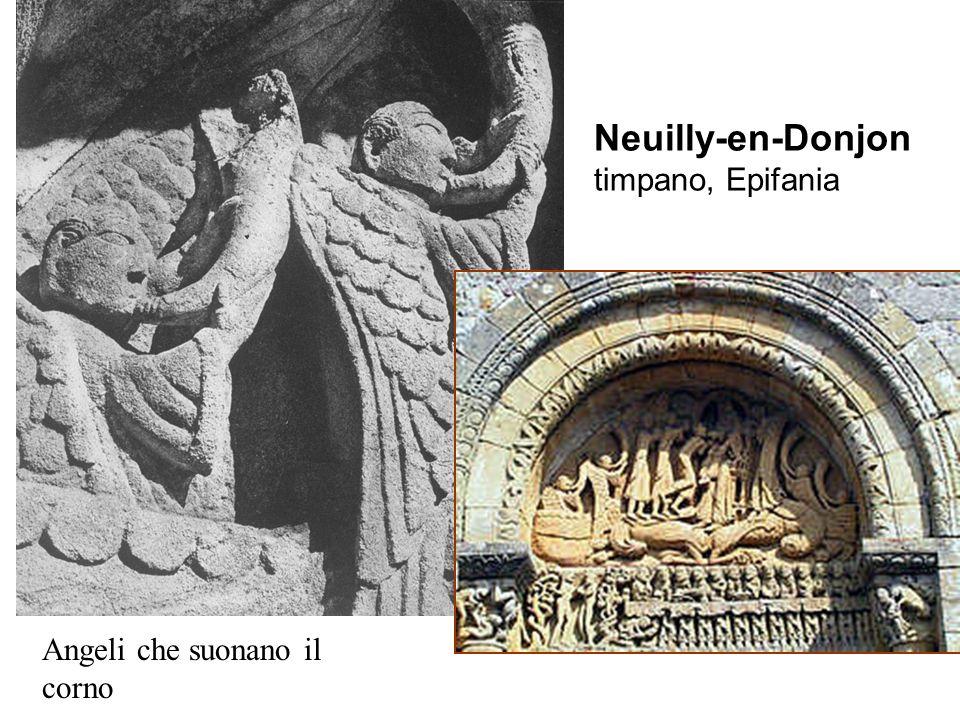 Neuilly-en-Donjon timpano, Epifania Angeli che suonano il corno
