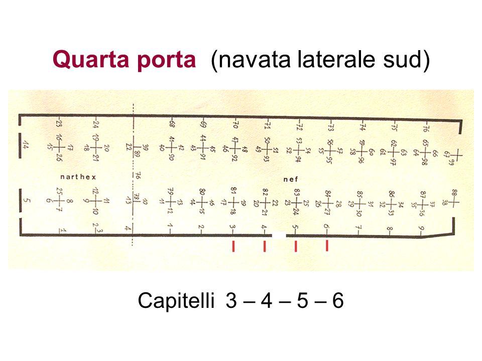 Quarta porta (navata laterale sud) Capitelli 3 – 4 – 5 – 6