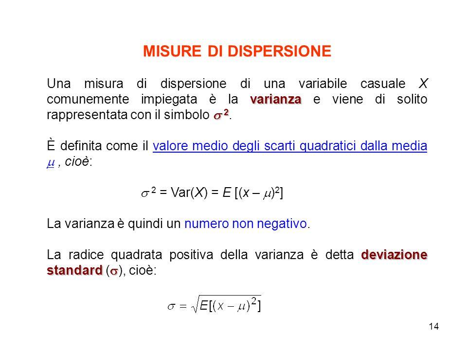 14 MISURE DI DISPERSIONE varianza 2 Una misura di dispersione di una variabile casuale X comunemente impiegata è la varianza e viene di solito rappresentata con il simbolo 2.