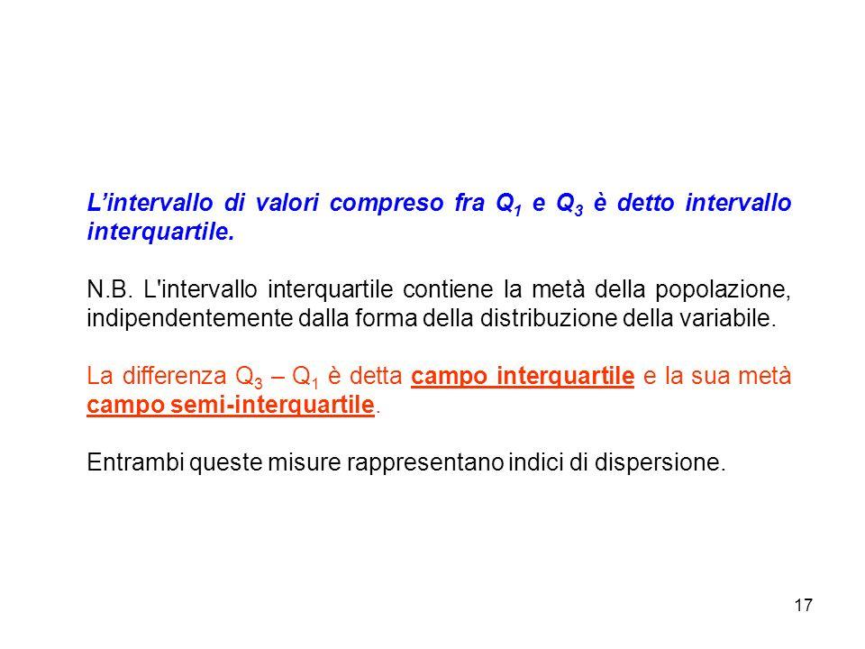 17 Lintervallo di valori compreso fra Q 1 e Q 3 è detto intervallo interquartile.
